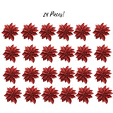 Artificial Poinsettia Flowers - Set of 24 Small Red Glitter Poinsettia Ornaments - Christmas Red Poinsettia Clips - Decorative Floral Accessories