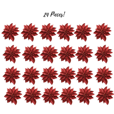 Artificial Poinsettia Flowers - Set of Small Red Glitter Poinsettia Ornaments - Christmas Red Poinsettia Clips - Decorative Floral Accessories