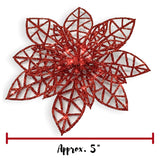 Poinsettia Ornaments - Holiday Decorations - Artificial Poinsettia Ornaments(3553)