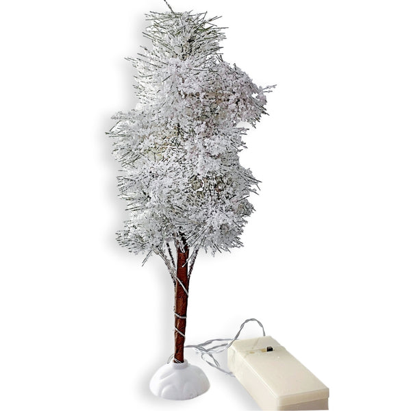 Christmas Village Accessories - White Frosted Topiary Light Up Tree - 9.25-Inches Tall - Battery Operated Slow Color Changing Lights