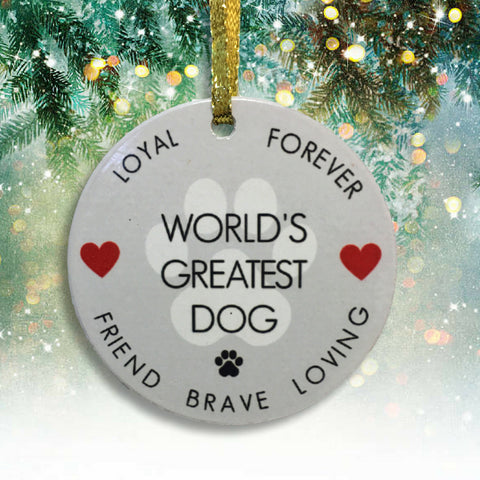 Dog Christmas Ornament - World's Greatest Dog - Pawprint Design
