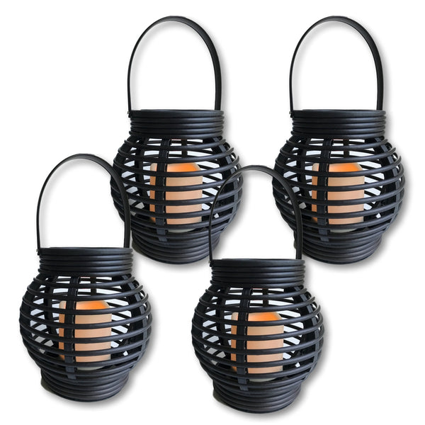 Decorative Candle Lanterns - Pack of 4 - Round Rattan Style Brown Lantern Set with LED Candle - On/Off Switch with Timer Function