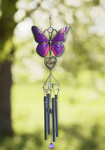 Mom Windchimes - Purple Butterfly Wind Chime Design with Engraved Mother Heart - Garden Chimes