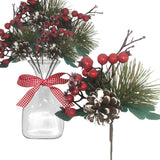 Pine Branches and Red Berry Picks - Set of 10 Stems with White Snow Covered Pine Cones and Berries