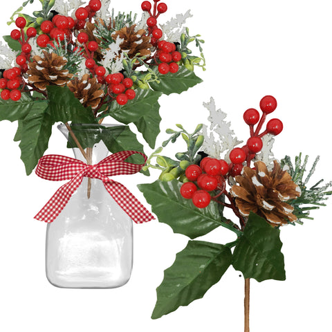 Pinecone and Berry Christmas Picks - Set of 10 Holiday Stems with White Snow-Covered Pine Cones and Berries