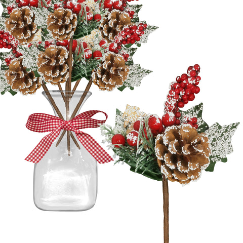 White Flocked Berry and Pine Cone Branches - Set of 10 Christmas Floral Picks Sprays with Snow Covered Pine Cones and Red Berries