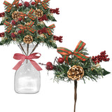 Christmas Pine Cone and Red Holly Berry Floral Stems - Set of 10 Branches with Snow Covered Pinecones and a Small Red and Gold Bow
