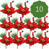 Red Poinsettia Christmas Picks - Set of 10 Holiday Sprays Red and Gold Trimmed Poinsettias - Berries and Pine Needle Accents