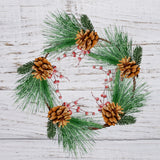 2 Christmas Wreath with Berries and Pine Cones - Long Pine Needles, Red Berry Accents with Glitter and Natural Brown Pine Cones
