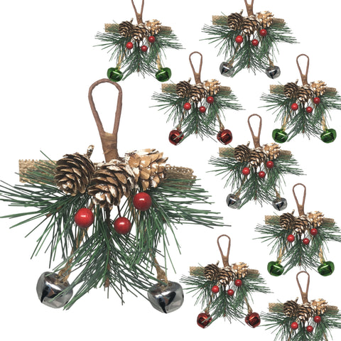 Christmas Pinecone, Red Berry and Pine Needle Ornaments - Set of 9 Small Hanging Greenery and Snow Covered Pine Cone Embellishments