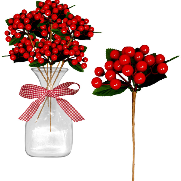 Red Berry Stems - Set of 12 Christmas Berry Sprays with Green Leaves - Approx. 18 Berries to Each Stem Cluster - Holiday Farmhouse Decorating Decor