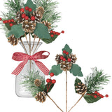 Assorted Christmas Pine Picks - Set of 12 Red Berry Snow Flocked Pinecone Holiday Floral Sprays - Wreaths Garland Crafts Seasonal Vase Fillers