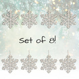 Large White Snowflake Ornaments - Approx 8-Inches Diam - Pack of 8 Snowflakes with Sparkly Glitter - Winter Wonderland Party Decorations