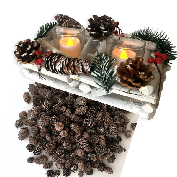 Berry and Pine Cone Candle Holder