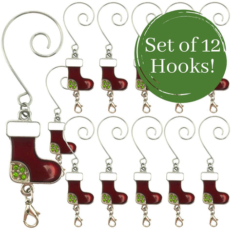 Christmas Ornament Hooks Boot Charm - Set of 12 Decorative Ornament Hangers with Lobster Claw Attachment - Red Holiday Stocking Design with Gems