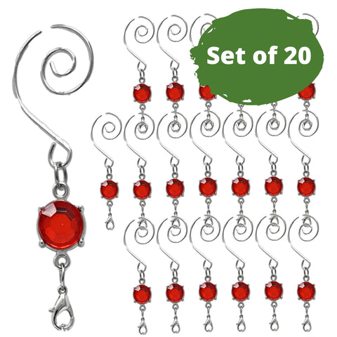 Red Christmas Ornament Hooks - Set of 20 Silver Wire Decorative Swirl S-Hooks with Red Shiny Gem
