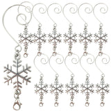 Snowflake Ornament Hooks - Set of 12 Shiny Silver Decorative Christmas Hangers - Snow Flake Design with a Secure Lobster Claw Attachment - Approx. 3.5 Inches Long