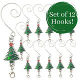 Christmas Tree Ornament Hooks - Set of 12 Red and Green Christmas Trees with Silver Wire S-Hook Attachment - Cute Seasonal Christmas Tree Design with a Spring Lobster Clasp Attachment