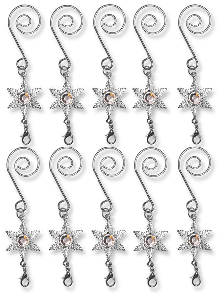 Silver S Hooks - Set of 10 Decorative S Hooks with Star Charm
