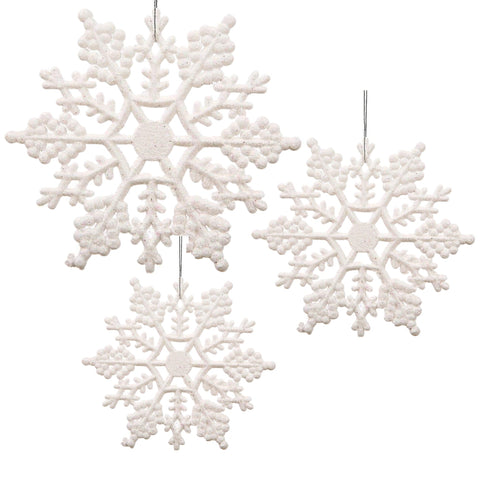 White Glittered Snowflakes - Pack of 42 Plastic Snowflakes Covered in White Glitter - Christmas Snowflakes