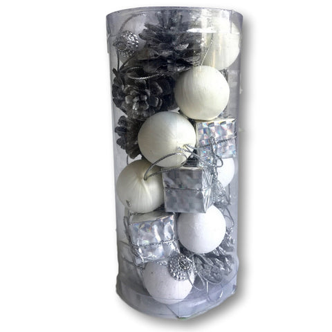 Mini Christmas Ornaments - Assorted Set of 96 Ornaments - White and Silver Mini Ball Ornaments - Pinecones and Presents - Each Ornament is Approximately One Inch