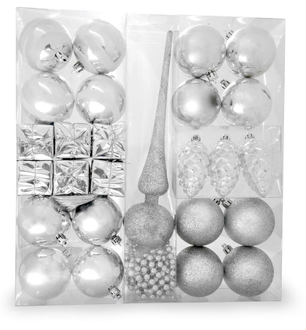 Silver Christmas Decorations - Set of 27 Christmas Balls, Small Silver Presents and Shiny Pine Cones with White Glitter - 1 Silver Glitter Tree Topper