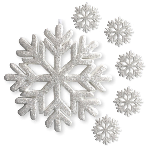 "3-D White Glittered Snowflakes - Set of 6 Foam Snowflake Ornaments with White Ribbon - Approximately 9"" In Diameter - White Glittered Decorations - Christmas Decor"