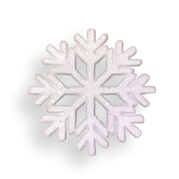 "Large Snowflake Decorations - Set of White Glittered Foam Snowflake Ornaments with White Ribbon - Approximately 9"" in Diameter - White Holiday Christmas Decor…"