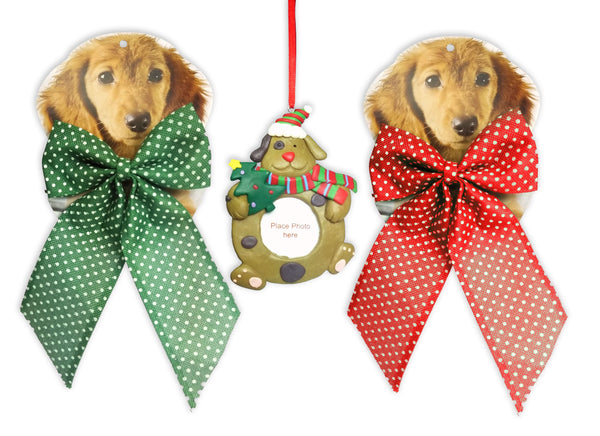Dog Christmas Ornament and Collar Combo - 1 Red Dog Collar Bow - 1 Green Dog Collar Bow - I Dog Photo Christmas Ornament