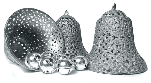 Christmas Ornaments - Set Of 9 Bells - 3 Large Silver Glitter Bells And 6 Small Silver Jingle Bells