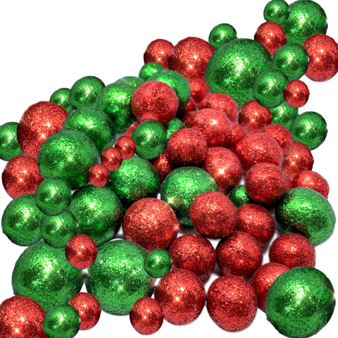 Multi Colored Foam Balls- 5 Bags Set of Red and Green Glittered Vase Filler Decorative Balls - Table Scatter Decorations - Party Decor -Glittery Colored Snow Balls