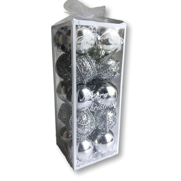 "Christmas Balls – 20 Silver Assorted Finish Xmas Ornaments - 2"" Diam. (5cm) – Shatterproof Ball Ornament – Silver Christmas Decorations(3584)"