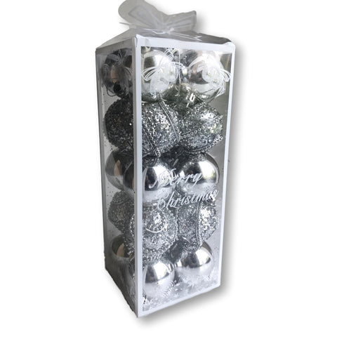 "Christmas Balls – 20 Silver Assorted Finish Xmas Ornaments - 2"" Diam. (5cm) – Shatterproof Ball Ornament – Silver Christmas Decorations"