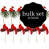 Red Cardinals Birds on a Stick - Assorted Style Cardinal Floral Picks - Set of 12 Birds Attached to Wooden Stems