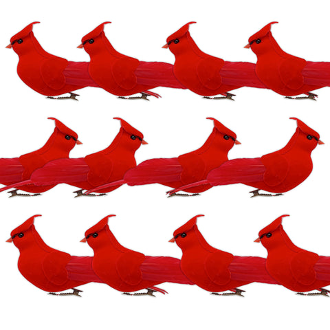 Cardinal Clip-On Christmas Ornaments - Set of 12 Realistic Big Red Velvet & Feathered Birds - Holiday Centerpieces - Crafts DIY - 6 Inches