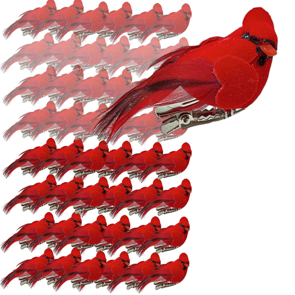Cardinal Clip On Christmas Tree Ornaments-Bird Decorations - Clip-On Red Velvet & Feathers - Set of 48 - Approx 2 Inch