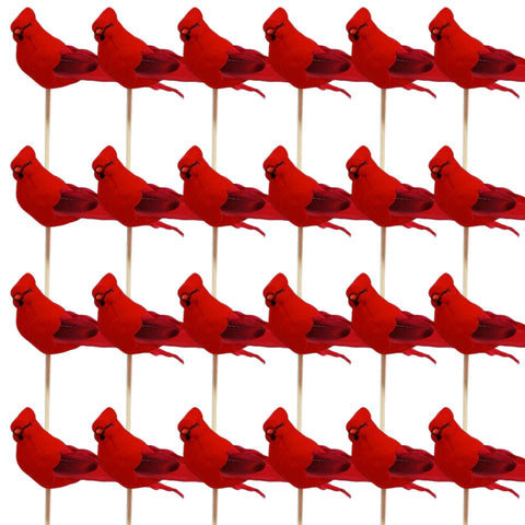 Cardinal Floral Picks - Set of 24 Red Birds on a Wooden Stick - Birds Attached to Stems - Red Birds Centerpieces - Christmas DIY - Ornament Holiday Décor