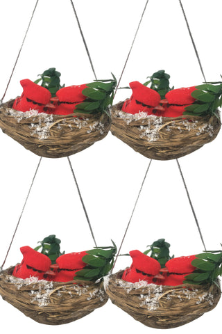 BANBERRY DESIGNS Bird's Nest Christmas Ornaments with Cardinals - Set of 4 Nests with Two Small Cardinal Birds Inside