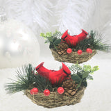 BANBERRY DESIGNS Christmas Cardinals in a Large Birds Nest - Set of 3 Nests with Two Artificial Cardinals in Each