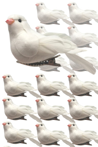 BANBERRY DESIGNS Artificial White Feathered Dove Christmas Ornaments - Set of 16 Turtle Doves Clip On Ornament