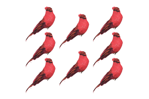BANBERRY DESIGNS Cardinal Clip On Ornaments - Set of 8 Red Burlap Birds with Real Feathered Tails