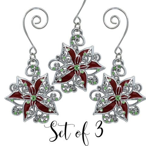 Poinsettia Christmas Ornaments - Set of 3 Filigree Red and Green Poinsettia Metal Ornament Set - Christmas Poinsettias - Christmas Ornament Sets(2981)