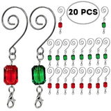 BANBERRY DESIGNS Christmas Ornament Hooks - Set of 20 Red and Green Acrylic Silver Wire Ornament Hangers - Decorative Scroll S-Hook