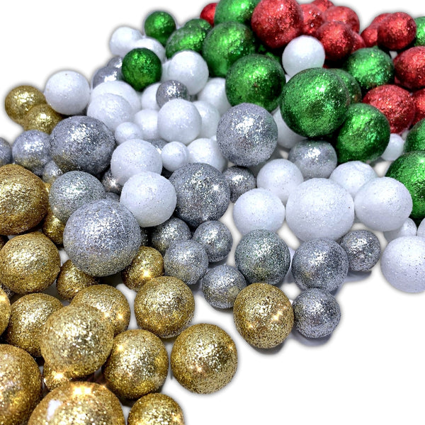 Multi Colored Foam Balls- 5 Bag Set of Silver Red Green Gold White Glittered Vase Filler Decorative Balls - Table Scatter Decorations - Party Decor -Glittery Colored Snow Balls