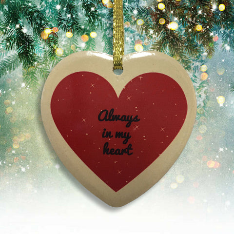Pet Memorial Christmas Ornament - No Longer By My Side Ceramic Heart