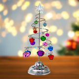 Light Up Tabletop Spiral Bright Colored Jingle Bell Christmas Tree - Battery Operated Silver Table Top Tree with Multi Color Changing Lights