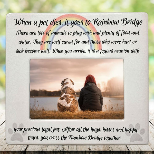 Rainbow Bridge Pet Memorial Picture Frame