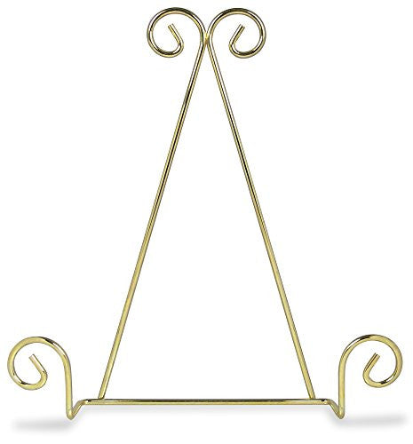 Single Tier Brass Metal Wire Wall Hanging Plate Rack Holder Stand with Swirling Spiral Scroll Design For Plates 8 to 10 Inch