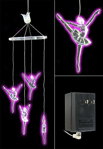 Ballerina Dancer Mobile Hanging Decoration - Pink LED Lighted Clear Acrylic Figurines - Birthday Gift for Girl - Baby Nursery Room Decor