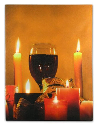 Wine Decor Wall Art with LED Lights Canvas Print Lighted Candle and Wine Glass Picture - Wine and Candlelight